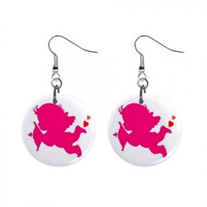 New Cupid Baby with Arrow Valentine Dangle Button Earrings Jewelry 13483306