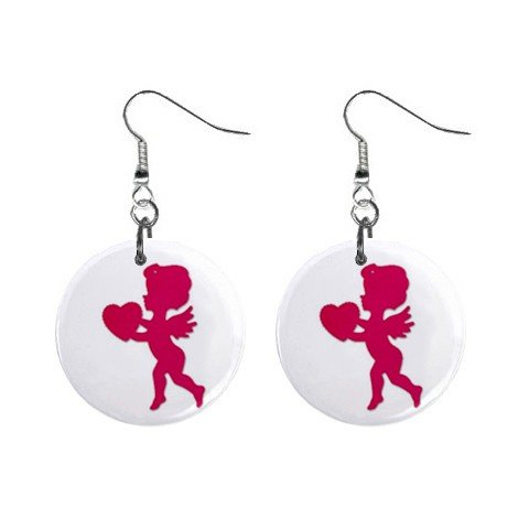 New Red Cupid with Heart Valentine Dangle Button Earrings Jewelry 13479481
