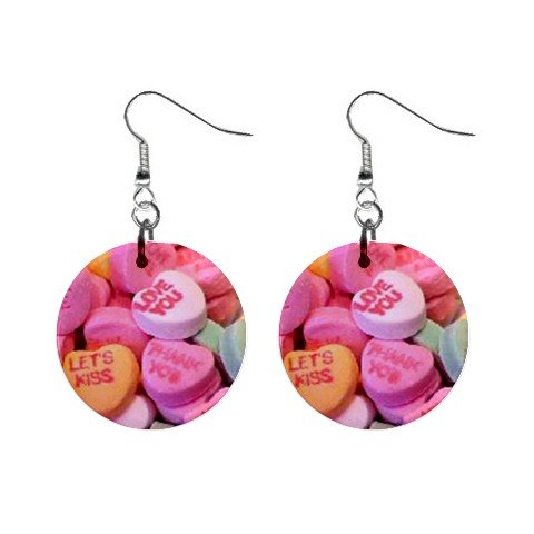 New Conversation Heart Valentine Candy Dangle Button Earrings Jewelry 13479480