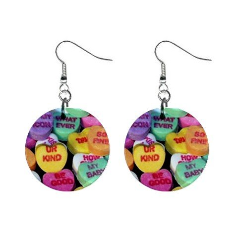 New Valentine Candy Conversation Heart Dangle Button Earrings Jewelry 13479479