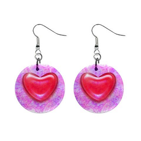 New Red Hot Heart Valentine Dangle Button Earrings Jewelry 13483315