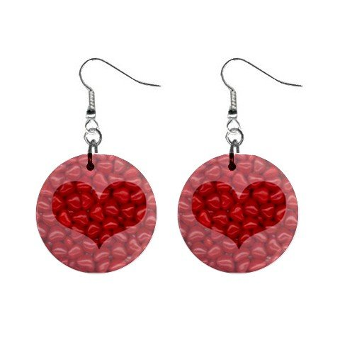 New Red Hots Candy Heart Valentine Dangle Button Earrings Jewelry 13483313