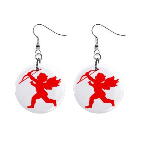 New Red Cupid with Arrow Valentine Dangle Button Earrings Jewelry 13483312