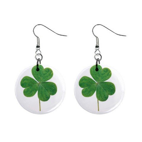 Three Leave Clover St. Paddy Patrick Day  Dangle Button Earrings Jewelry  13501043