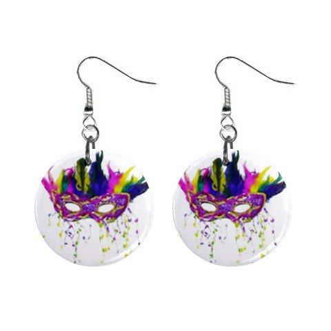 Mardi Gras Mask #10 Dangle Button Earrings Jewelry  13534580