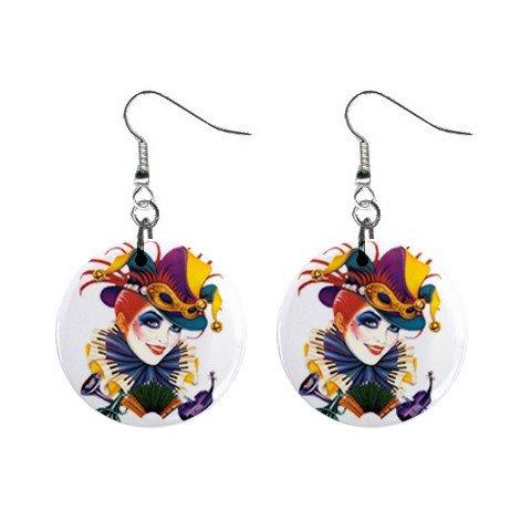 Mardi Gras Jester #9 Dangle Button Earrings Jewelry  13534581