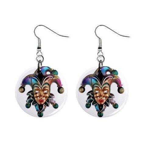 Mardi Gras Jester #8 Dangle Button Earrings Jewelry  13534582