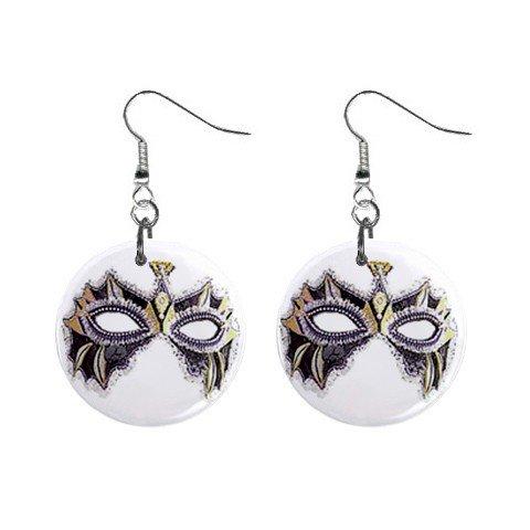 Mardi Gras Mask #7 Dangle Button Earrings Jewelry  13534583