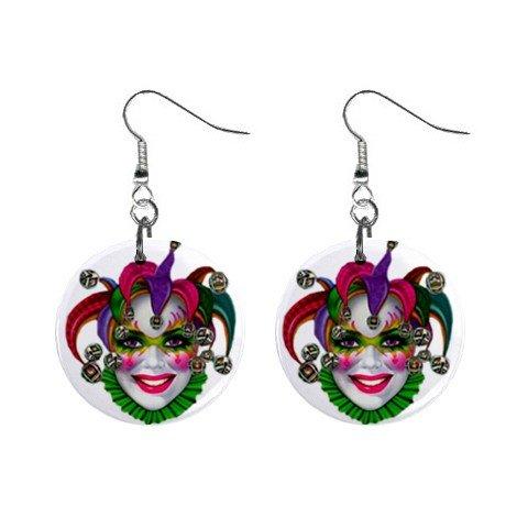 "MARDI GRAS Jester 1"" Round Dangle Button Earrings NEW 13534586"