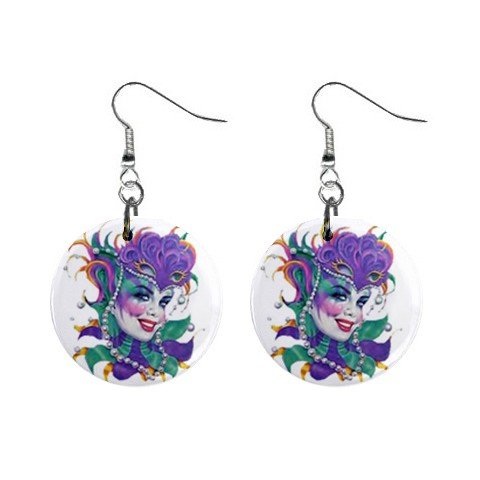 "MARDI GRAS Jester 1"" Round Dangle Button Earrings NEW 13534585"