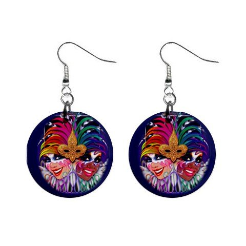 "Jesters  MARDI GRAS 1"" Round Dangle Button Earrings 13534588"