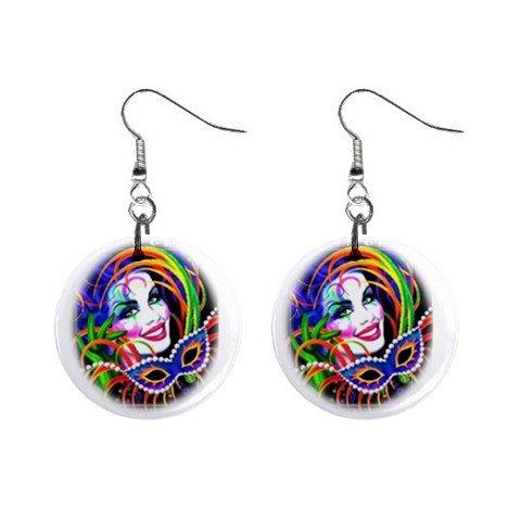 "MARDI GRAS Jester 1"" Round Dangle Button Earrings NEW 13534589"
