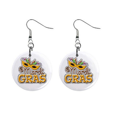 "MARDI GRAS Mask 1"" Round Dangle Button Earrings NEW 13534593"