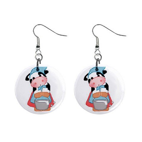 Cow Maid Servant Dangle Buttons Earrings Jewelry 1 inch Round 13688957