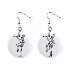 Marching Band Baton Twirler Twirling Majorette Button Dangle Earrings Jewelry 14001003