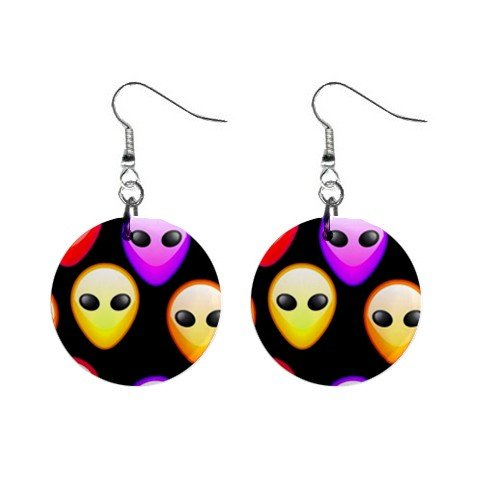 Alien Faces Hanging Dangle Button Earrings Jewelry 14000951