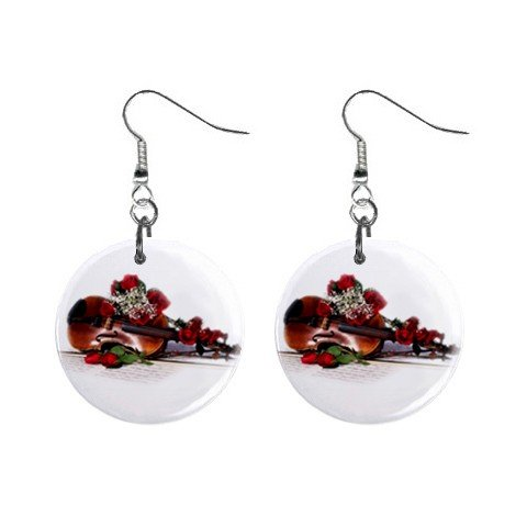 New Violin Musical Instrument Dangle Button Earrings Jewelry 13356357