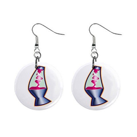 New Lava Lamp Retro Hippie Dangle Button Earrings Jewelry 13631835
