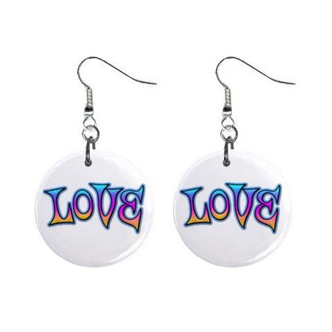 New LOVE Retro Hippie Dangle Button Earrings Jewelry 13631836