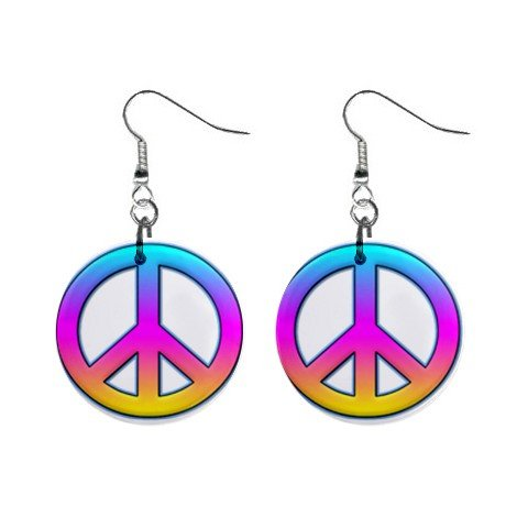 New Peace Sign Retro Hippie Dangle Button Earrings Jewelry 13631888