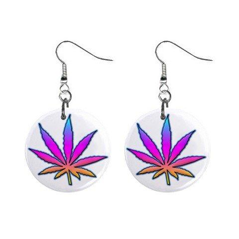 New Pot Leaf Retro Hippie Dangle Button Earrings Jewelry 13631889