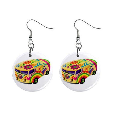 New Retro Hippie Bus Dangle Button Earrings Jewelry 13633686