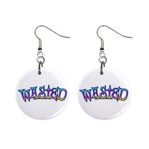 New WASTED Retro Hippie Dangle Button Earrings Jewelry 13634116