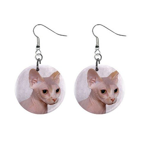 """Bald Hairless Cat Sphynx 1"""" Round Button Dangle Earrings Jewelry 13894510"""