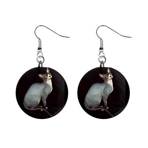 "White Hairless Cat Sphynx 1"" Round Button Dangle Earrings Jewelry 13894511"