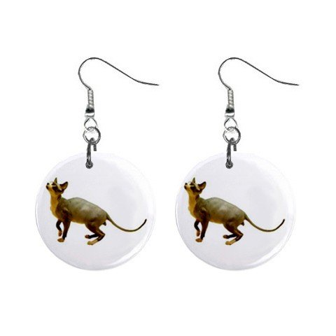 "Hairless Cat Sphynx 1"" Round Button Dangle Earrings Jewelry 13894580"