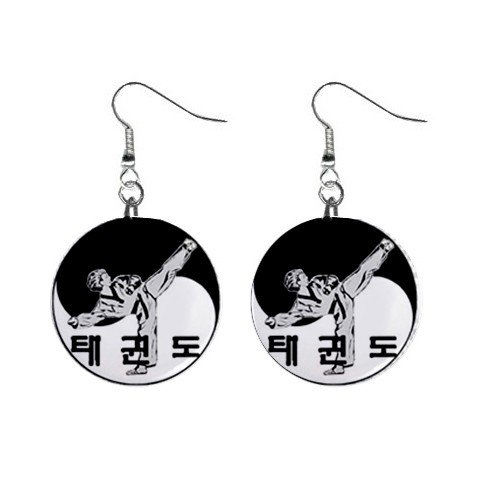 Tae Kwon Do Dangle Earrings Jewelry 1 inch Buttons 13894591