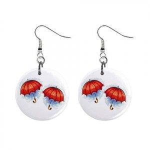 Umbrella Umbrellas Dangle Button Earrings Jewelry 1 inch Round 13969098