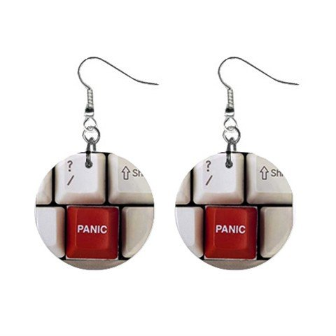 Panic Key Computer Keyboard Dangle Button Earrings Jewelry 1 inch Round 13970177