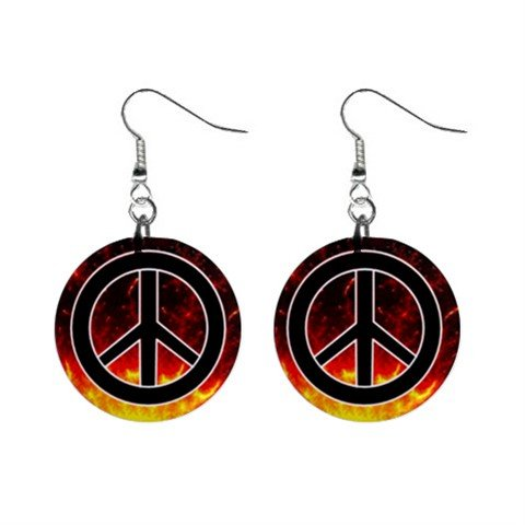 Peace Sign In Flames Dangle Button Earrings Jewelry 1 inch Round 13151635