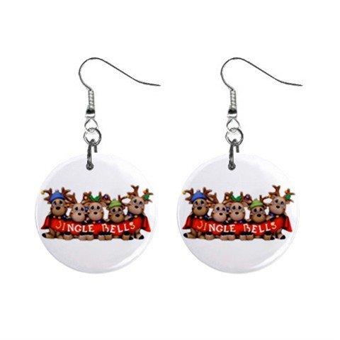 Jinglebell Reindeer Christmas Dangle Earrings Jewelry 1 inch Buttons 12894137