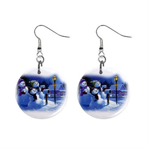 Three Snowman Christmas Dangle Earrings Jewelry 1 inch Buttons 12977554