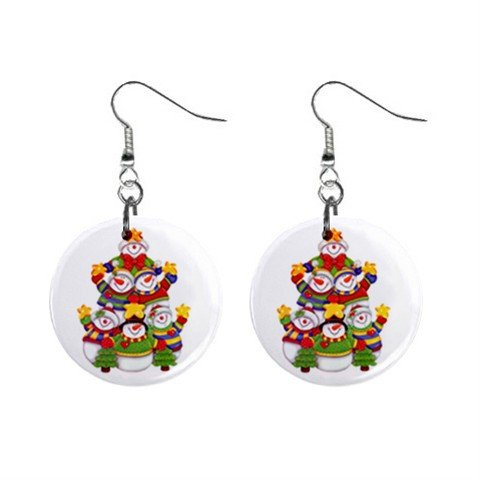 Snowman Family Christmas Dangle Earrings Jewelry 1 inch Buttons 12977657