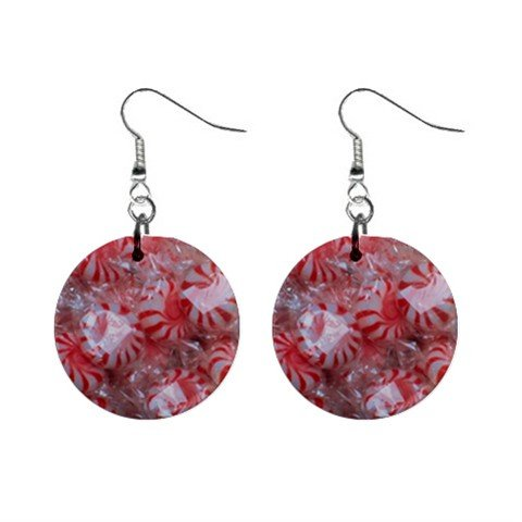 Peppermint Candy Christmas Dangle Earrings Jewelry 1 inch Buttons 12982348