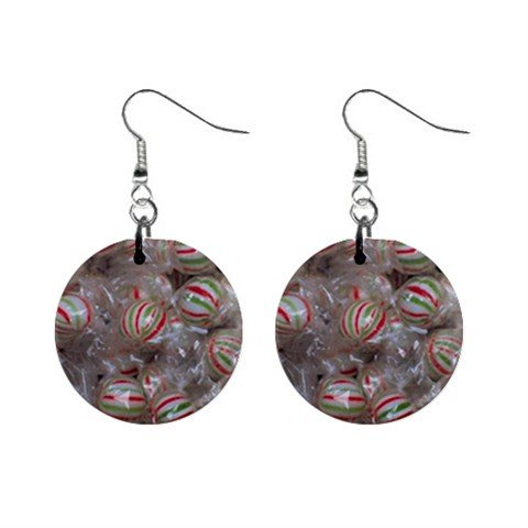 Red White Green Peppermint Candy Christmas Dangle Earrings Jewelry 1 inch Buttons 12982350