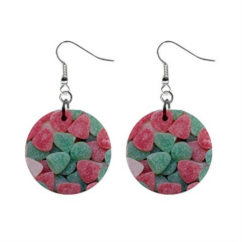 Gumdrops Candy Christmas Dangle Earrings Jewelry 1 inch Buttons 12982351
