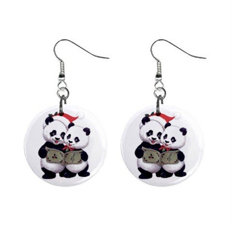 Holiday Pandas Christmas Dangle Earrings Jewelry 1 inch Buttons 13004385