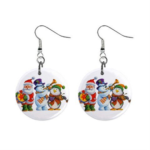 Holiday Band Christmas Dangle Earrings Jewelry 1 inch Buttons 13092704