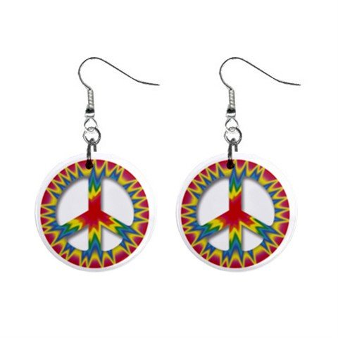 Peace Sign Art Dangle Button Earrings Jewelry 1 inch Round 14881796