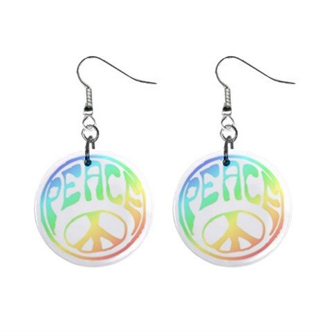 Pastel Peace Sign Dangle Button Earrings Jewelry 1 inch Round 14881798