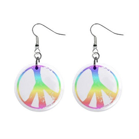 Pastel Peace Symbol Sign Dangle Button Earrings Jewelry 1 inch Round 14881811