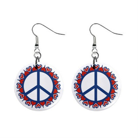 Heart Peace Sign Dangle Button Earrings Jewelry 1 inch Round 14881812