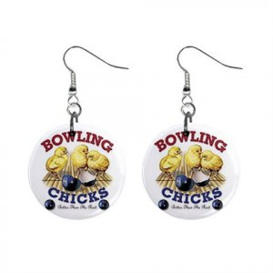 Bowling Chick Dangle Earrings Jewelry 1 inch Buttons 13019661