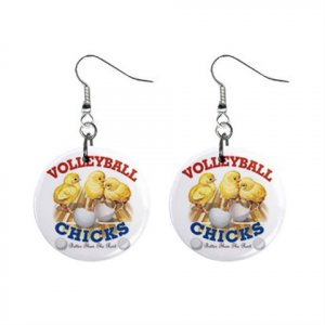 Volleyball Chick Dangle Earrings Jewelry 1 inch Buttons 13020702