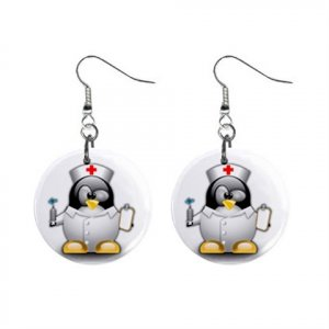 Cartoon Nurse Penguin Dangle Button Earrings Jewelry 1 inch Round 12794615
