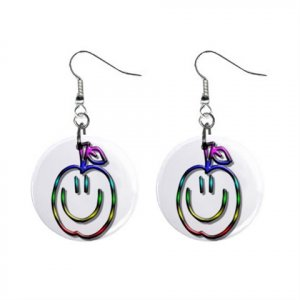 Apple Funny Face Dangle Button Earrings Jewelry 1 inch Round 12897930